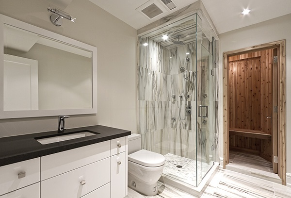 Modern Basement Bath With Charming Glass Door. Basement Bathroom Ideas