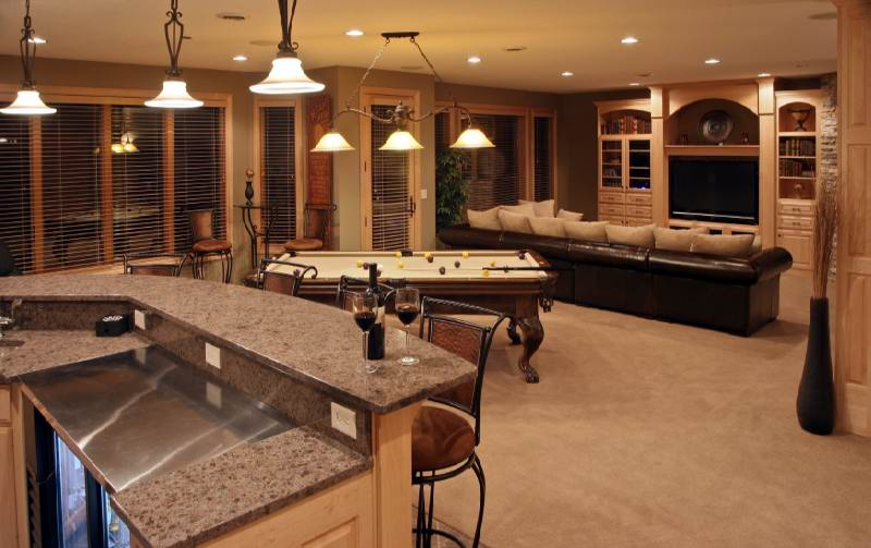 Basement With Pool Table And Bar