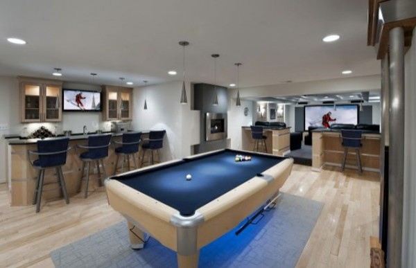 Basement Pool Room With Media Center