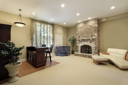 Lower Level Basement With Fireplace