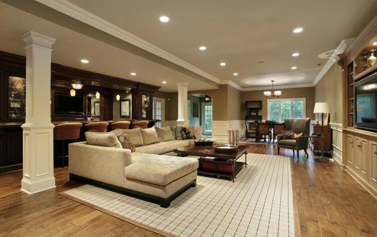 Luxury Basement With Cushy Sofa